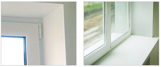 Отштукатуренные откосы после установки пластиковых окон