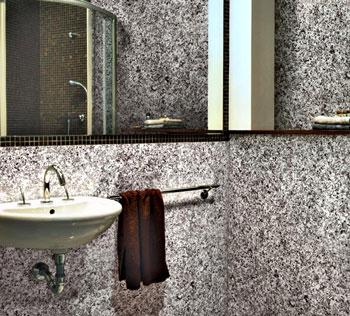 Покрытие стен ванной комнаты камешковой штукатуркой
