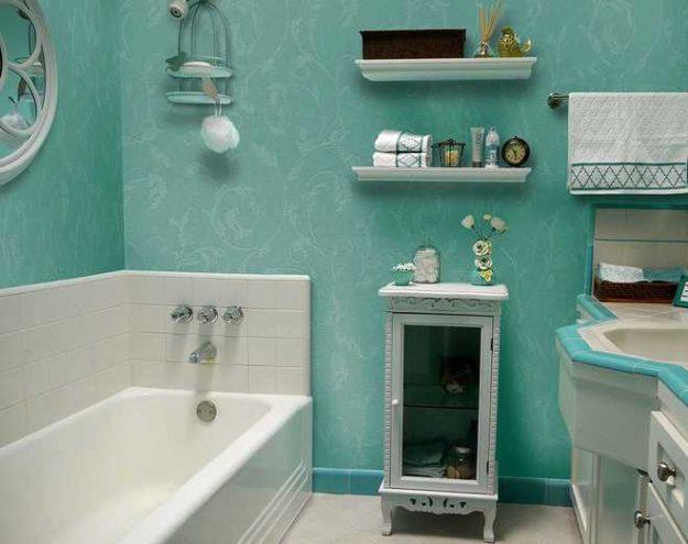 Примеры жидких обоев в ванной комнате